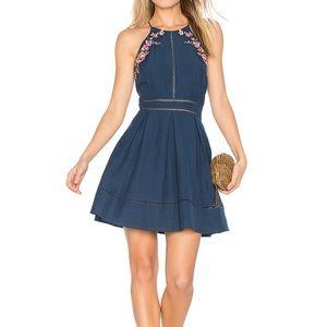 JOA revolve blue sleeveless embroidered dress